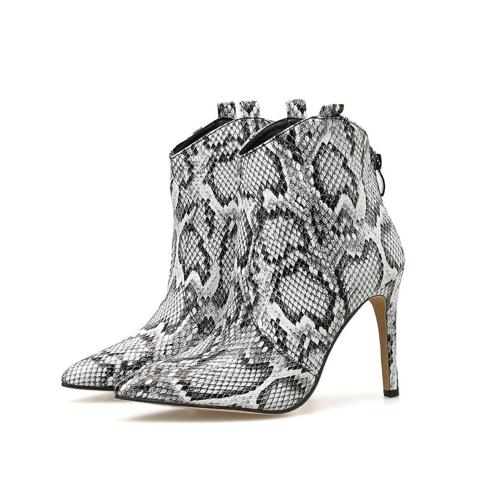 Купить с кэшбэком 10cm Pointed Toe Snake Print Women's Ankle Boots Stiletto Zip High Heels Fashion NIUFUNI Women's Shoes Size 35-40 Bottes Femme