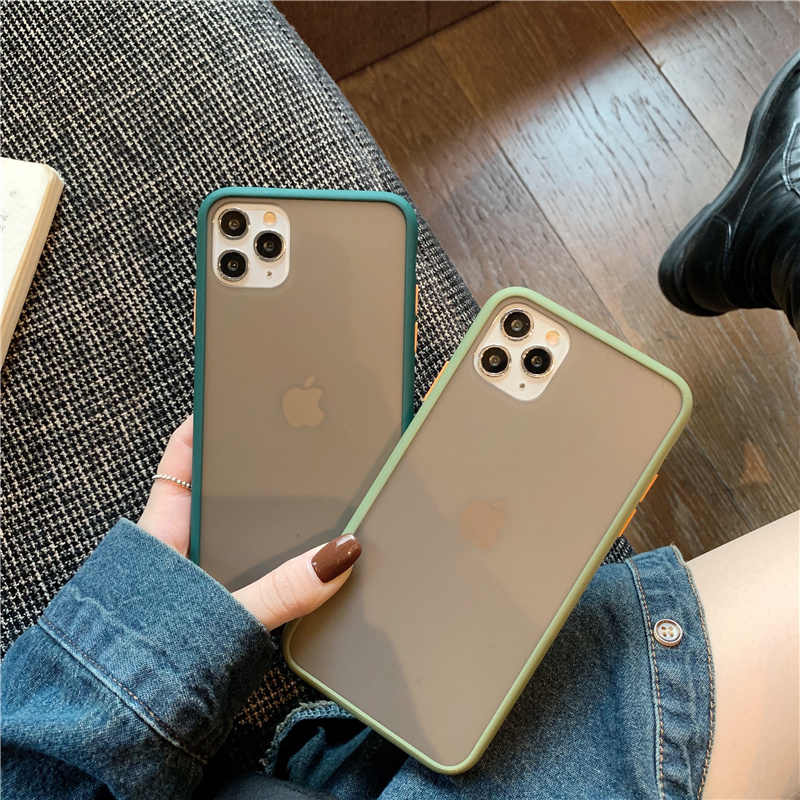 Lovebay mint híbrido simples fosco caso de telefone para iphone 11 pro xr xs max 6s 8 7 6 plus tpu silicone à prova de choque macio claro capa