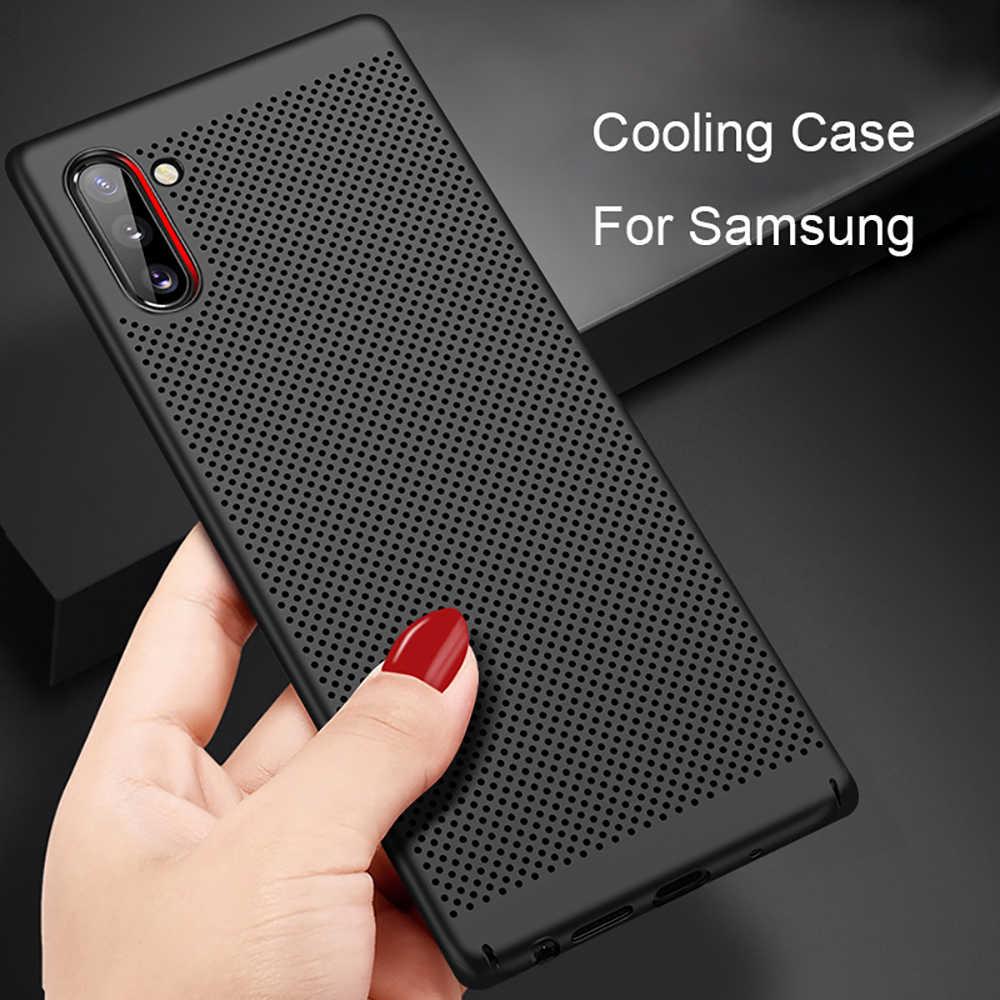 Eqvvol Ultra Slim PC Case untuk Galaxy Samsung S10 S9 S8 Plus Note 8 9 10 Pro A50 A70 M20 hollow Disipasi Panas Penutup Belakang Kasus
