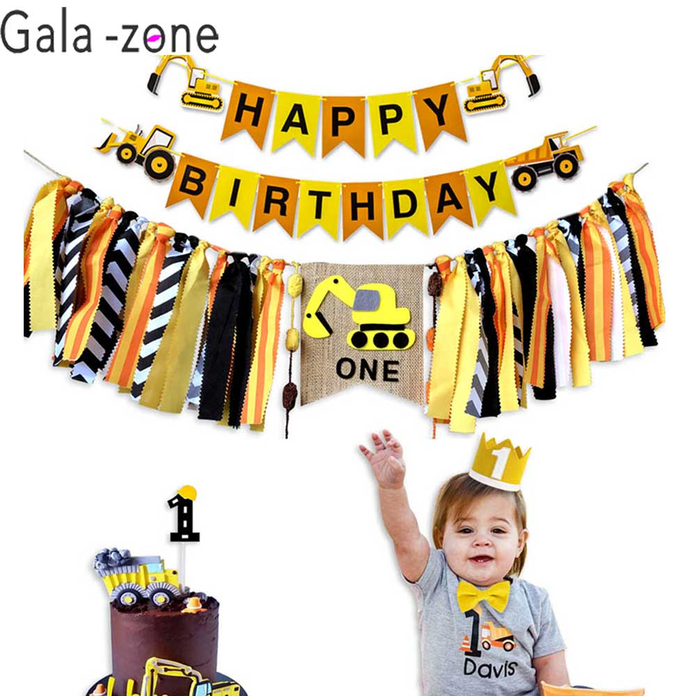 Construction Digger Tractor Yellow Children/'s Birthday Bunting Party Banner