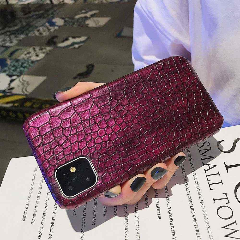 Cho Iphone 11 Pro Max XR Thời Trang Thoáng Mát Cá Sấu Da Rắn Lưng Cover Cho iPhone XS Max X 6 6 S 7 8 Plus Lai Cao Su CapA