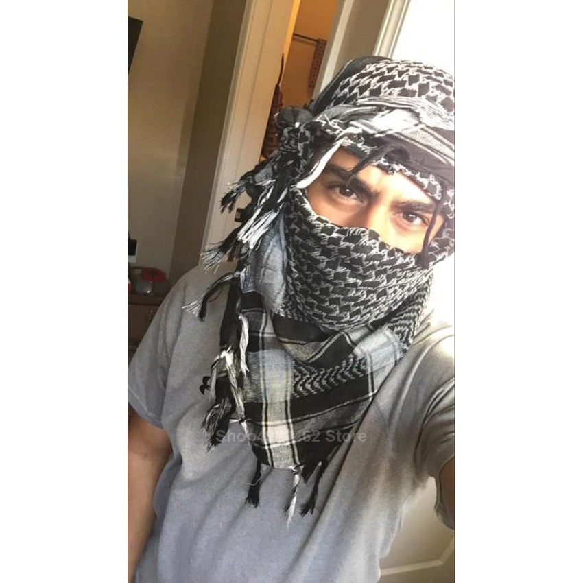 Traditional Men Muslim Scarf Turban Shemagh Tassel Islamic Hijab Saudi Arabic Military Tactical Windbreaker Scarves Accessories