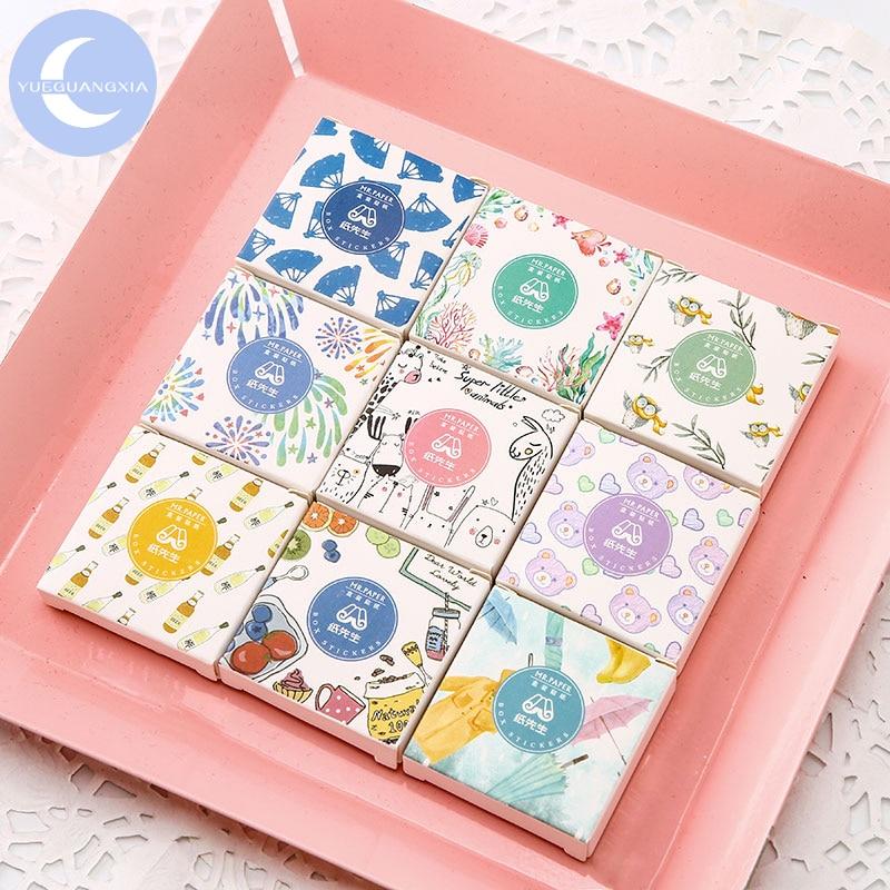 YUEGUANGXIA 40 Pcs/box Cute Candy Kawaii Diary Handmade Adhesive Paper Flake Japan Stickers Scrapbooking Stationery  Stickers
