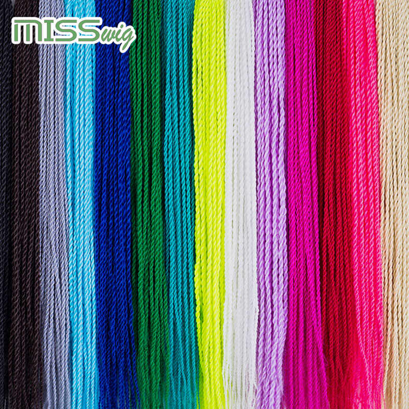 MISS WIG Ombre Senegalese Twist Hair Crochet braids 24 inch 35colors Roots/pack Synthetic Braiding Hair for Women grey,blue,pink