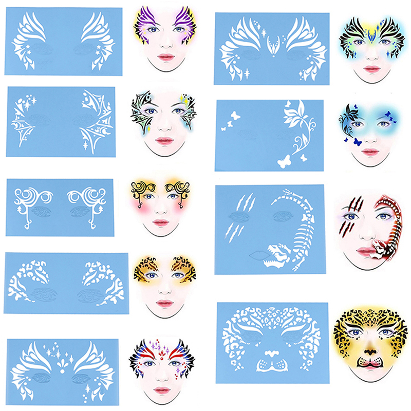 Soft Face Eye Body Paint Stencil Reusable Template Tattoo Painting Makeup Tools Eye Body DIY Design Halloween Christmas Party