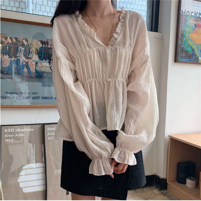 HziriP Cute Prairie Chic Thin Pleated Lantern Sleeves Loose Feminine Waist-Controlled Ruffles Blouses Brief Solid Gentle Shirts
