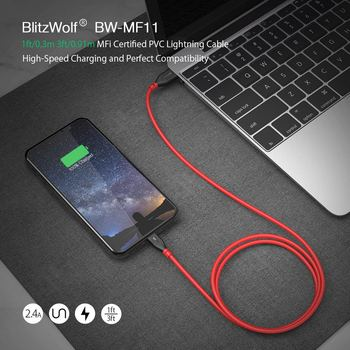 BlitzWolf BW-MF11 Lightning-Cable 30cm 2.4A MFi-Certified Certified Charging Data Cable with for iPhone 11 PRO XR for iPad 1