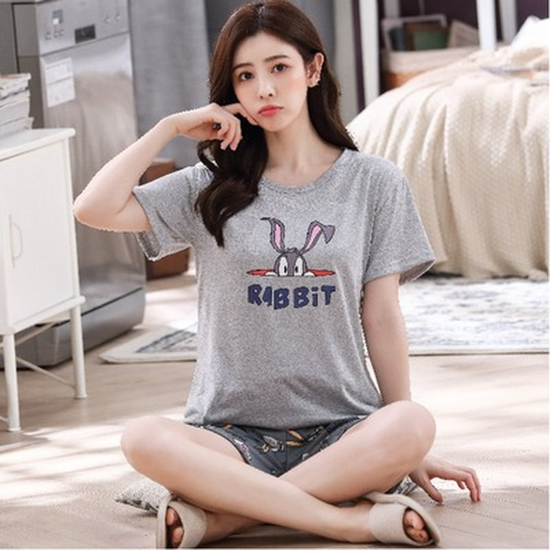 Summer Short Sleeve Thin Polyester Cartoon Print Loose Sleepwear Girl Pijamas Mujer Leisure Nightgown Hot Sale Women Pajamas Set