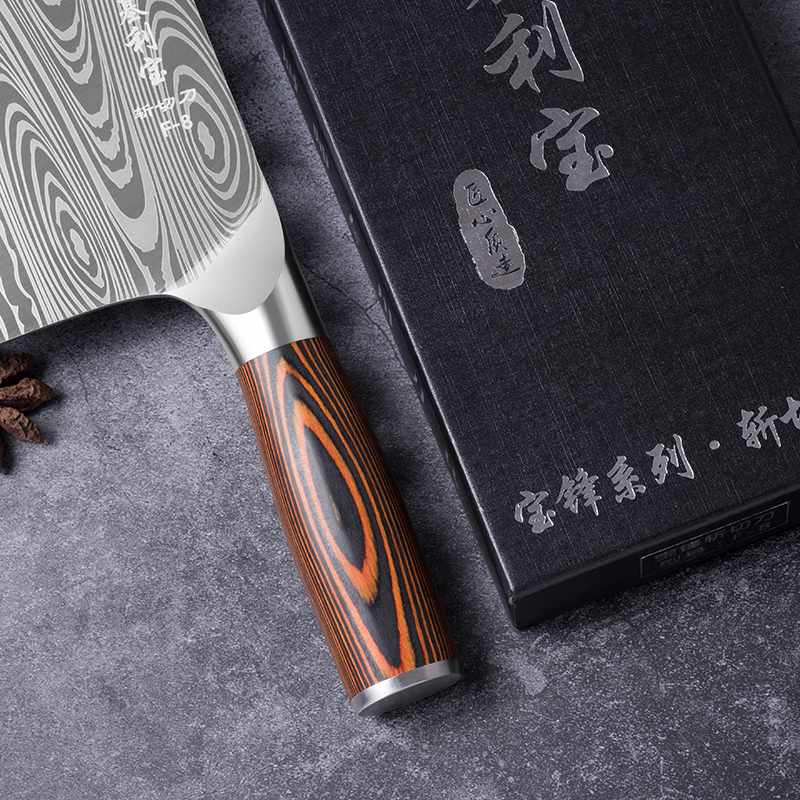 Deng knife High-grade handmade forged blade carbon steel kitchen knife Chinese chef knife vegetable cleaver kitchen Colour wood 5