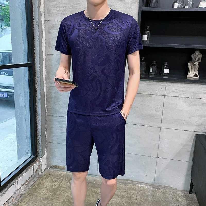 صيف 2020 مطبوعة قصيرة الأكمام تي شيرت مجموعة مرونة الخصر السراويل الرجال ملابس رياضية عالية الشارع ملابس رياضية غير رسمية حجم كبير 4XL