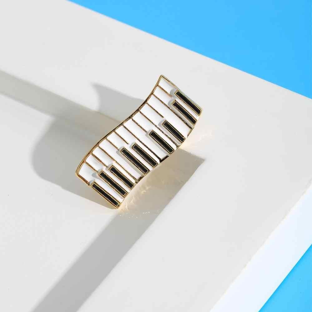 Neoglory piano teclado esmalte broches para mulher 2020 instrução de alta qualidade pinos presente para o amigo concerto