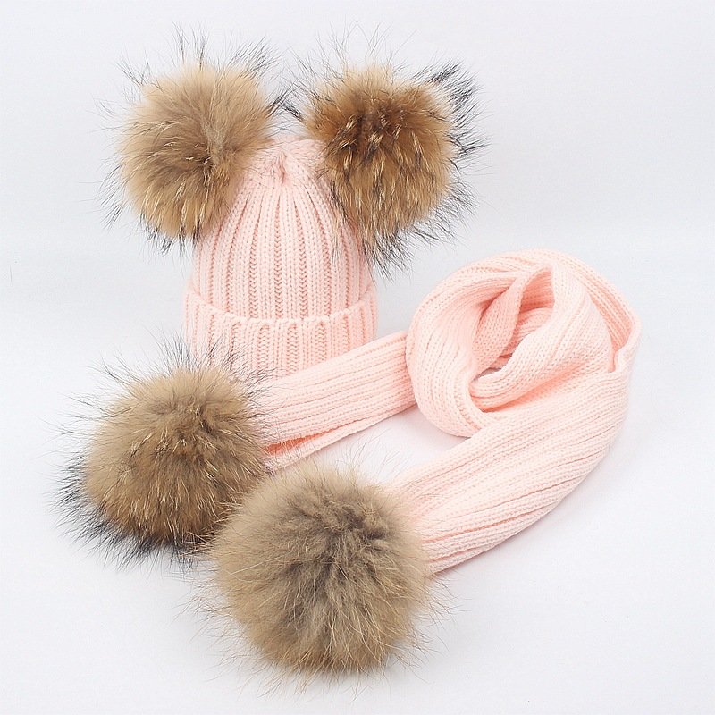 Children's Hat Scarf Kit Cute Boys And Girls Raccoon Fur Ball Knit Hat Fall Outdoor Warm Hat Kit Winter Hat And Scarf Set Kids