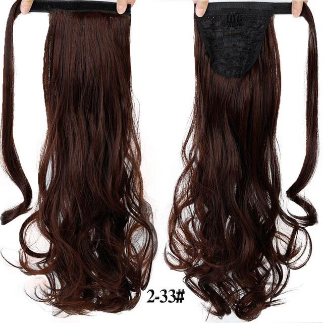 HOUYAN 24 дюймов длинные толстые прямые волосы кудрявые волосы синтетические волокна конский хвост обернутый парик длинный парик конский хвост парик - Цвет: 2I33