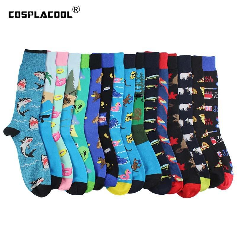 Креативные птицы, белка чужеродные носки, чесаные хлопчатобумажные забавные носки для мужчин, новый дизайн, носки для скейтборда для пиццы, ...