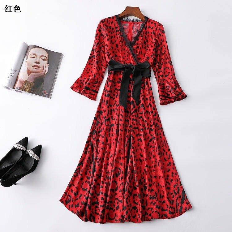 Après 115914 Ming eu couture automne col en v fermeture à glissière neuf points ajouter robe à manches longues