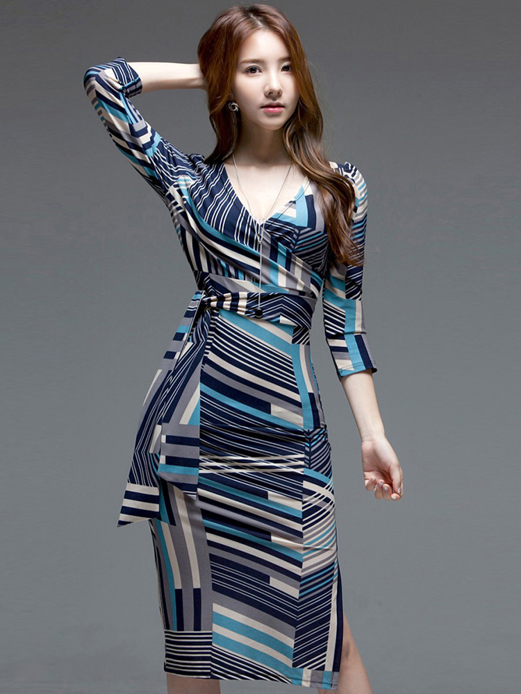 Formal-Dress Basic Print Office Party Sexy Elegant Vintage Casual Fashion Women New-Arrival
