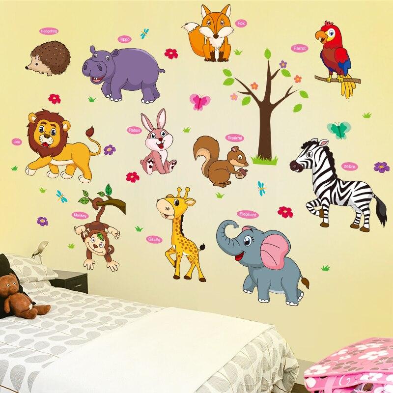 [Shijuehezi] animais dos desenhos animados adesivos de parede pvc material diy decalques de parede decorativos para quarto das crianças jardim zoológico decoração