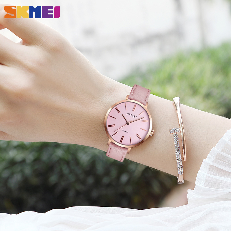 SKMEI Fashion Women Watches Casual Leather Strap Watch Simple 3bar Waterproof Quartz Wristwatches Ladies Relogio Feminino 1397