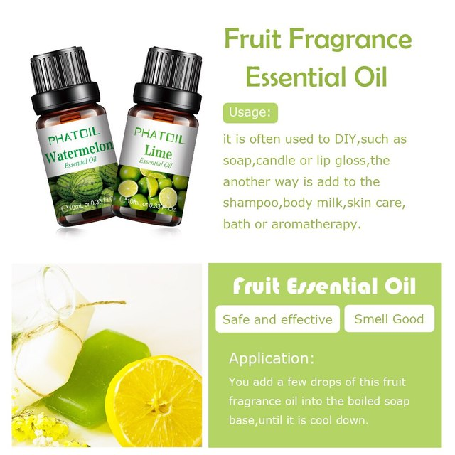 10ml Pure Fruit Fragrance Oil Diffuser Essential Oils Strawberry Mango Pineapple Coconut Flavoring Oil for Candle Soap Making 4