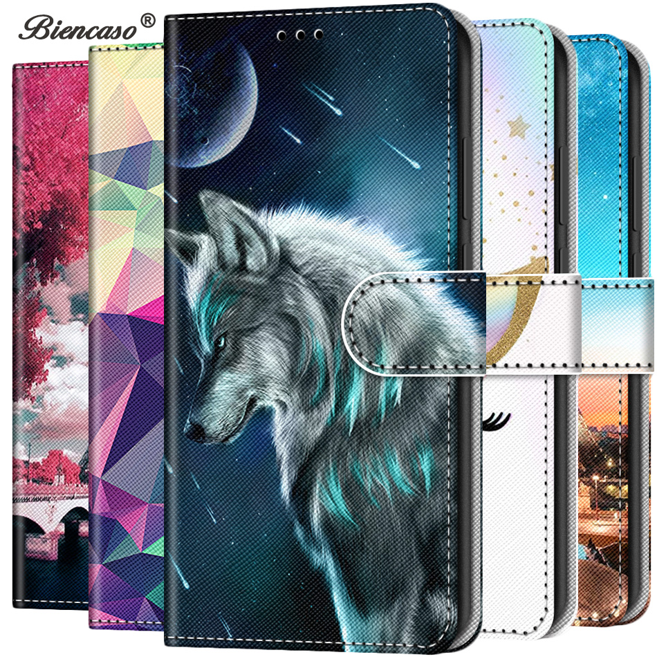 Cute Cat Wolf Wallet Flip PU Leather Case For <font><b>Samsung</b></font> Galaxy A3 A5 A310 A510 <font><b>A520</b></font> A6 A8 A7 A9 2018 A750 A2 J2 Core <font><b>Back</b></font> <font><b>Cover</b></font> image