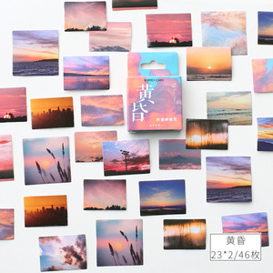 Dusk landscape Paper Small Diary Mini Kawaii box Stickers set Scrapbooking Cute Flakes Journal Stationery