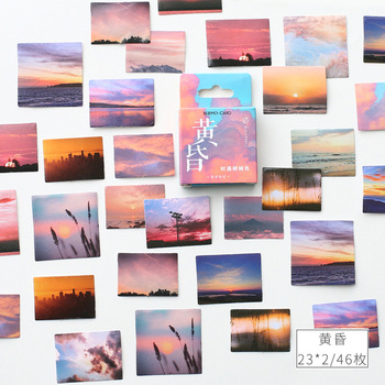 Dusk landscape Paper Small Diary Mini Kawaii box Stickers set Scrapbooking Cute Flakes Journal Stationery - discount item  18% OFF Stationery Sticker