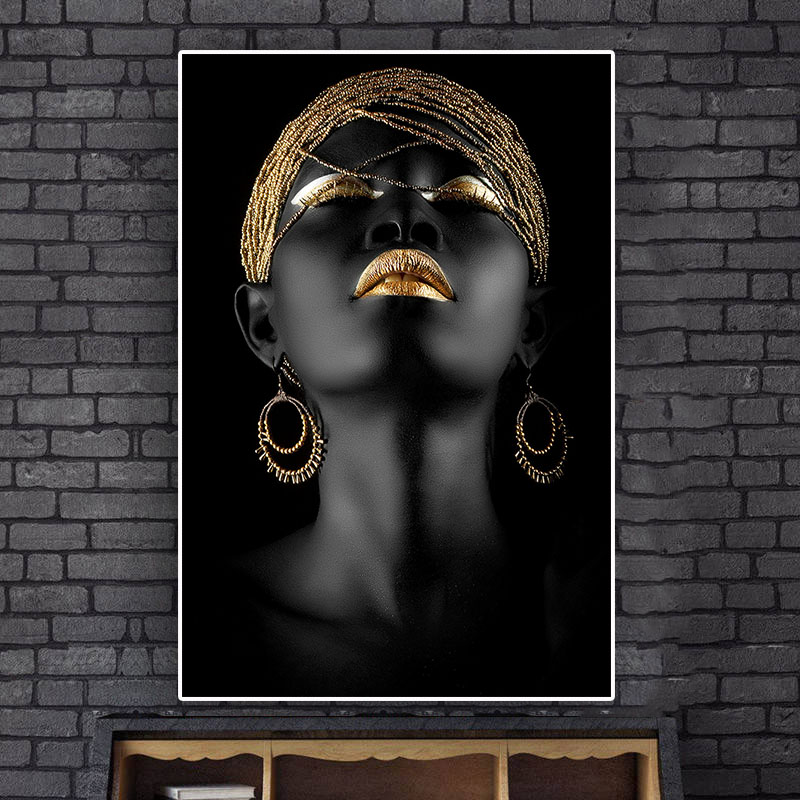 African Woman Oil Painting on Canvas Posters - Minimalist Nordic