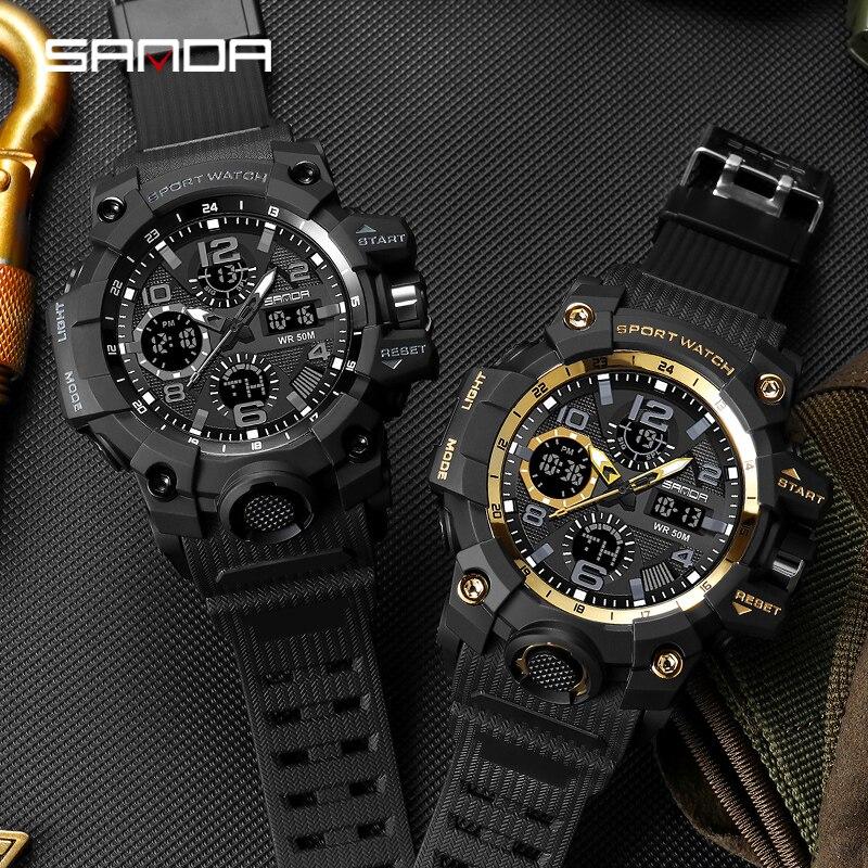 Montre homme SANDA marque montre-bracelet de luxe double temps chronomètre Sport militaire montres mode hommes montres horloge antichoc 5