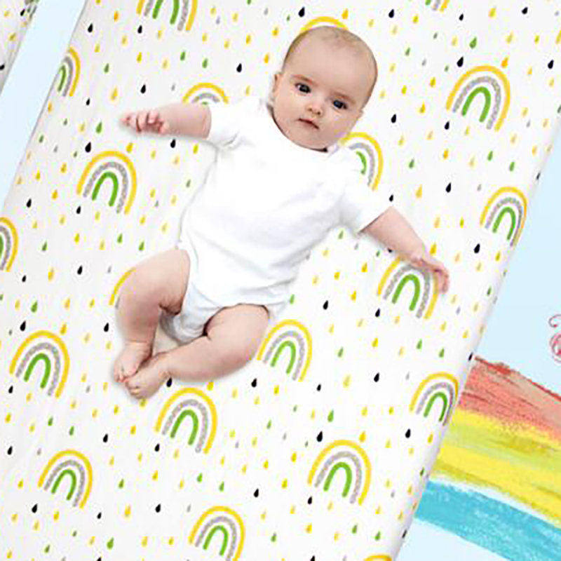 Baby Cot Crib Cover Mattress Covers  Baby Bedding  Bedclothes Rainbow Printing Cotton Bed Sheet  BMT065