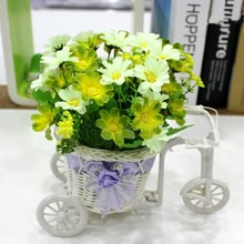 Simulation Flowers Suit Plastic Float Set Silk Rose Flower and Bike For DIY Home Wedding Party Hot Sale