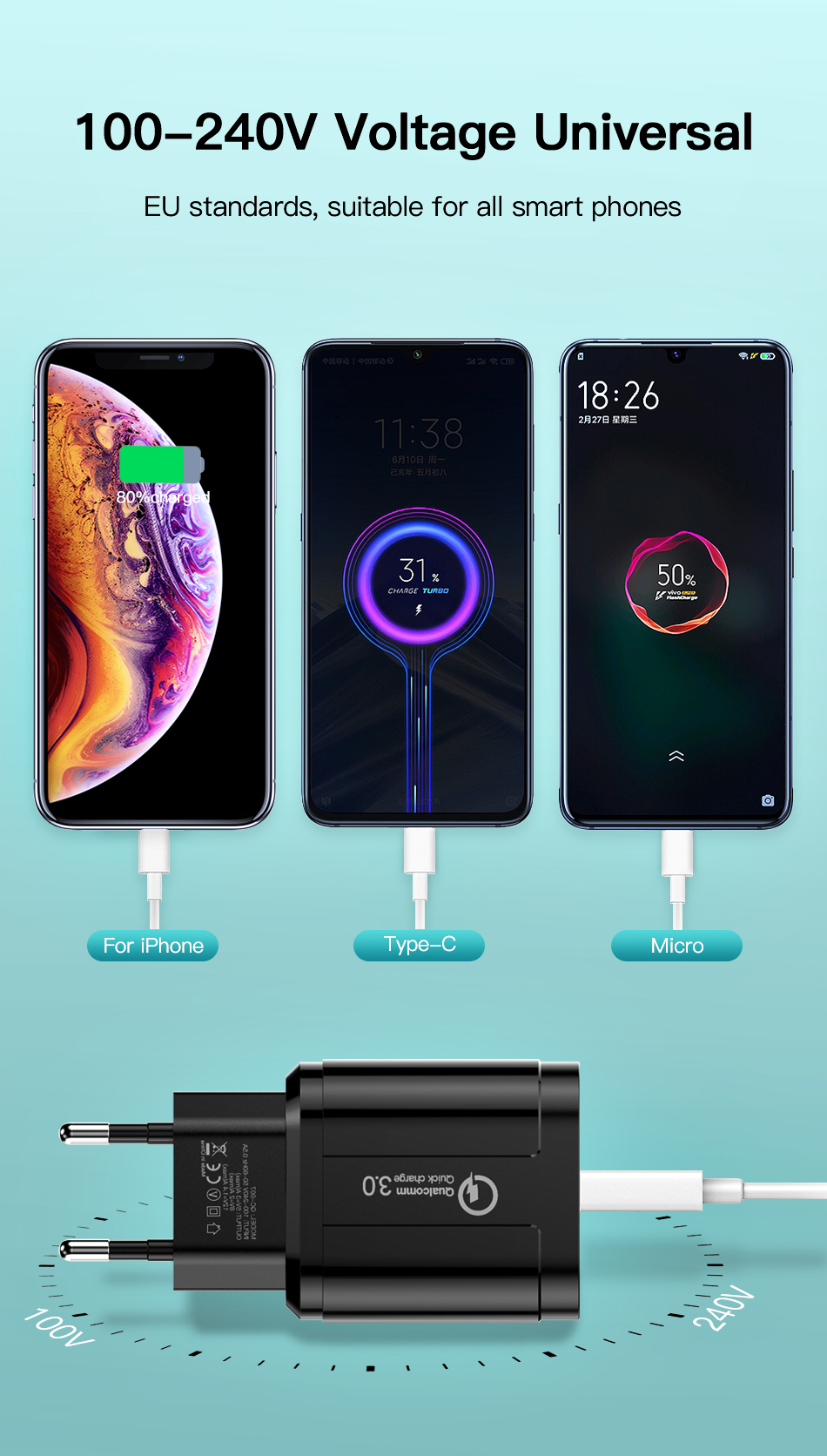!ACCEZZ QC3.0 USB Charger Quick Charge For iphone XS X Fast Charging For Samsung Huawei Xiaomi EU Plug Travel Wall Power Adapter (2)