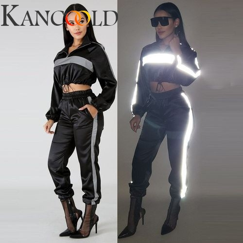 KANCOOLD Zipper Reflective Glitter Turtleneck Crop Sweatshirt Women 2019 Autumn Streetwear Long Sleeve Sports Suit Female