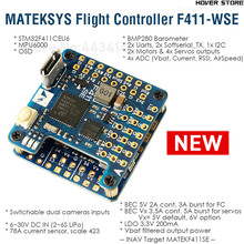 Matek Mateksys الجناح F411 WSE المدمجة وحدة تحكم في الطيران PDB 6 ~ 30V (2 ~ 6S يبو) و BEC 5V الانتاج ل iNAV FPV سباق الطائرات بدون طيار