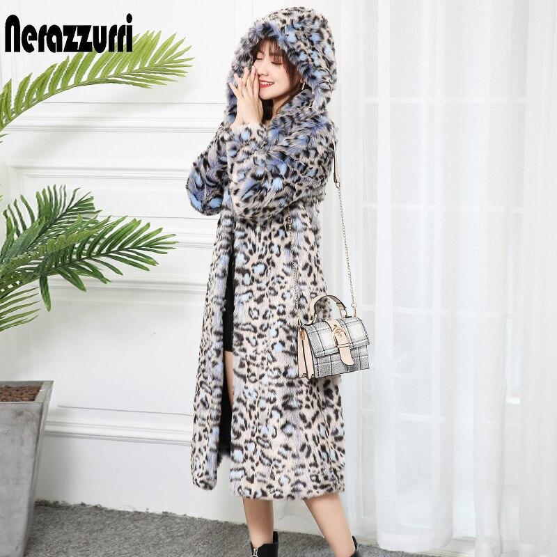 Nerazzurri Leopard Print Winter Women Faux Fur Coat With Hood Long Sleeve Leopard Fur Coat Thicken Long Plus Size Fluffy Jacket