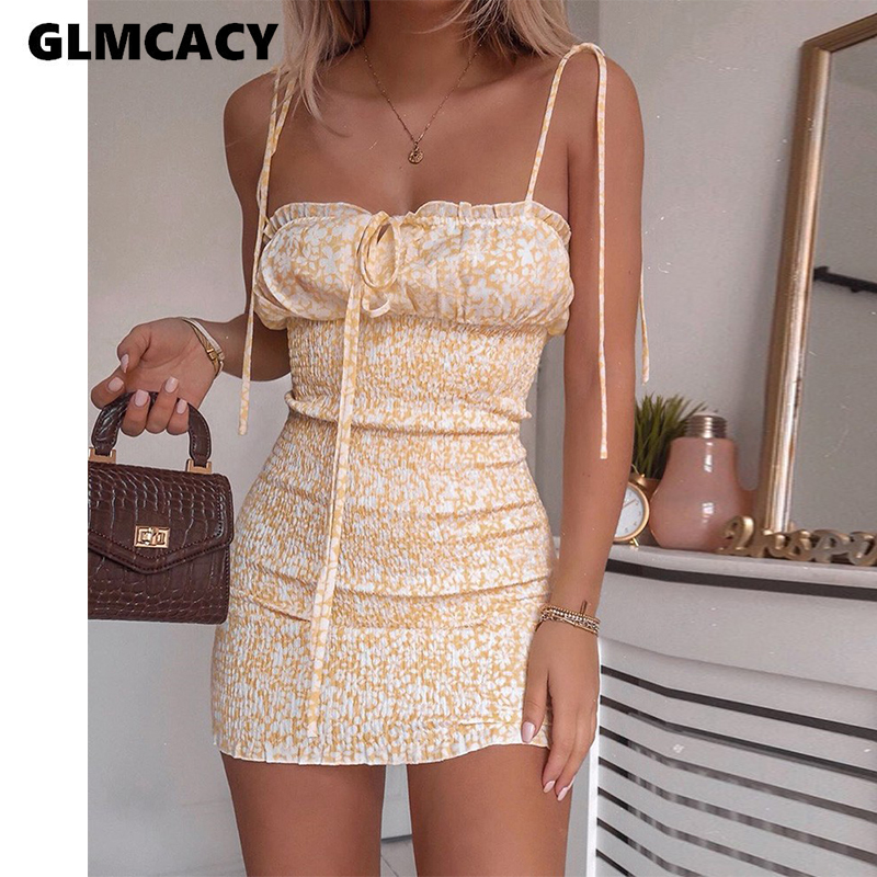 Floral Print Spaghetti Strap Shirring Design Dress Women Sleeveless Chic Bohemian Style Holiday Dresses