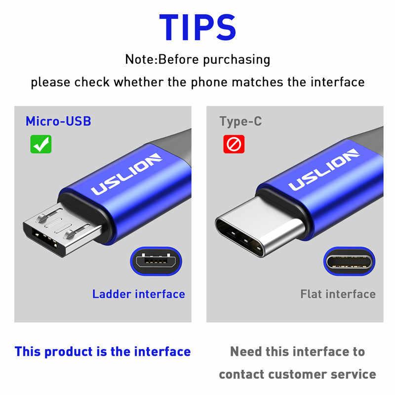 USLION 3m مايكرو USB كابل الروبوت ل Xiaomi Redmi ملاحظة 5 برو الهاتف 3A سريع شحن لسامسونج S7 مايكرو شاحن بيانات كابل