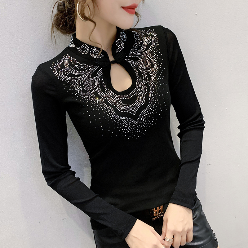 Chinese style Long sleeve T shirt Women New Stand-up collar Fashion Hollow out shirt Slim Casual Black Red Women Tops