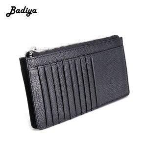 Vintage Men Wallet Genuine Leather Ultra Thin Long Clutch Bag Phone Bag Multi Slots Credit Card Holder Male Zipper Coin Purse