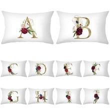 Sofa pillow case letter rose pillow case contracted style decorative cushion cover waist pillowcase peach fur throw pillow