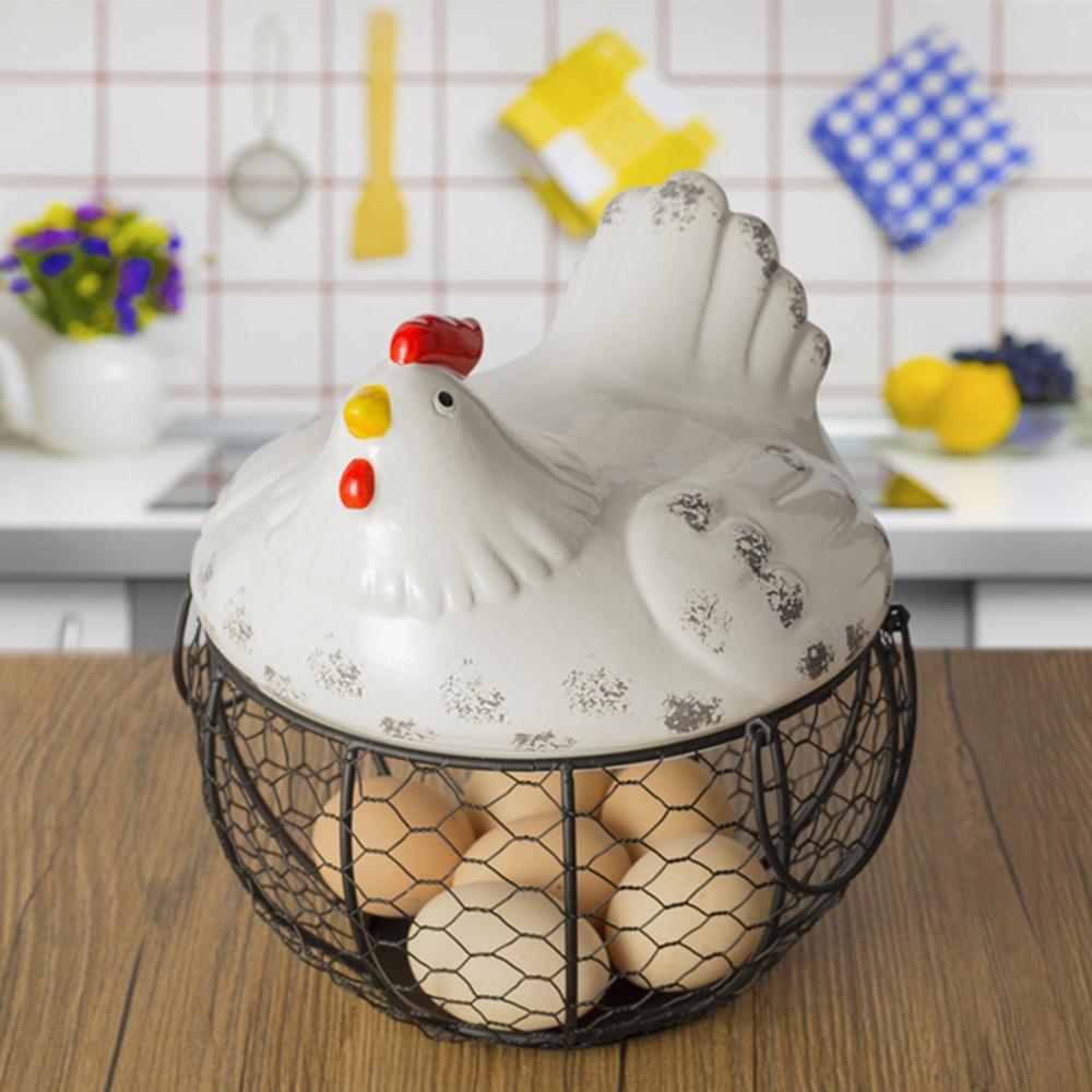 Egg Stand Ceramic Chicken Silk Egg Basket Fruit Basket Collection Ceramic Chicken Sprout Decoration Kitchen Storage