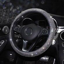 Capa para volante de carro, capa com brilho de cristal, strass, couro pu de alta qualidade para automóveis de 38cm e 15 polegadas volante volante