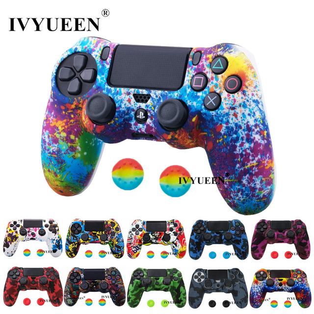 IVYUEEN For Sony PlayStation 4 PS4 Pro Slim Controller Silicone Case Protective Skin with Analog Stick Grip for PS4 DS4 Gamepad