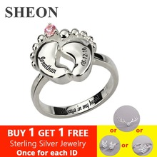 SHEON 925 Sterling Silve Personalized Engraved Womens Baby Feet Ring with Birthstone Custom Name Jewelry Gift for New Mom Anel