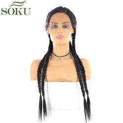 Pelucas largas trenzadas de encaje sintético frontal para mujeres negras SOKU peluca trenzada frontal de encaje de Color negro Natural 26 pulgadas L parte Peluca de moda