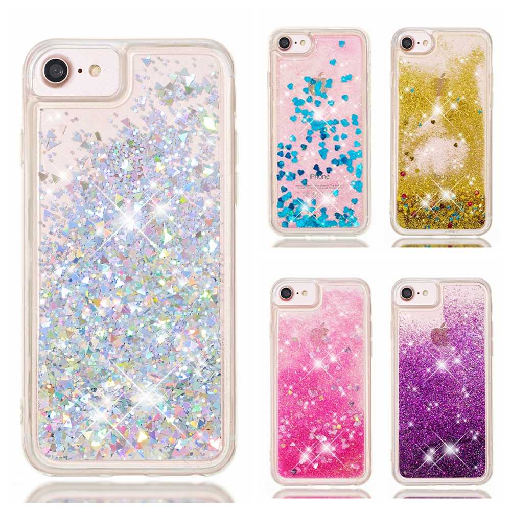 SE Case on for Coque iPhone SE 2020 Case Bling Glitter Dynamic Liquid Quicksand Soft Cover for etui iPhone SE 2020 Case women