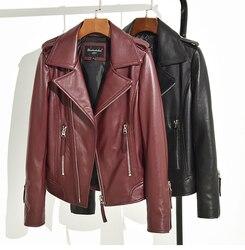 Envío Gratis, 2020 chaqueta de cuero genuino de alta calidad para mujeres. Chaqueta de piel de oveja ciclista femenina de moda, abrigo Delgado casual, superventas
