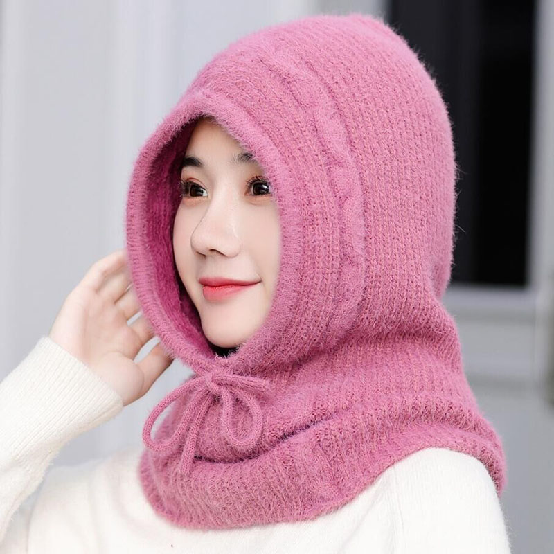 Men Women Cashmere Hat Knitted Scarf Hooded Collar Winter All-match Drawstring Elastic Adult Teenager Thick Soft Neck Warmer