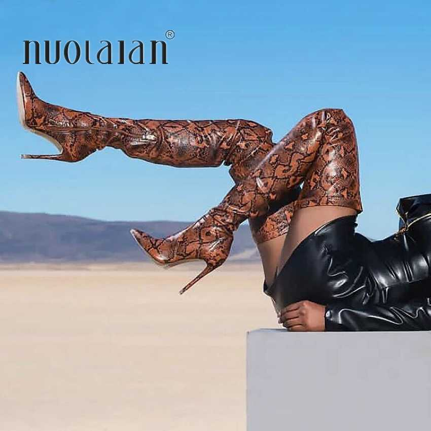 2019 бренд осенне-зимние женские ботинки длинные Стрейчевые тонкие высокие сапоги до бедра со змеиным принтом и Ботфорты женская обувь на высоком каблуке