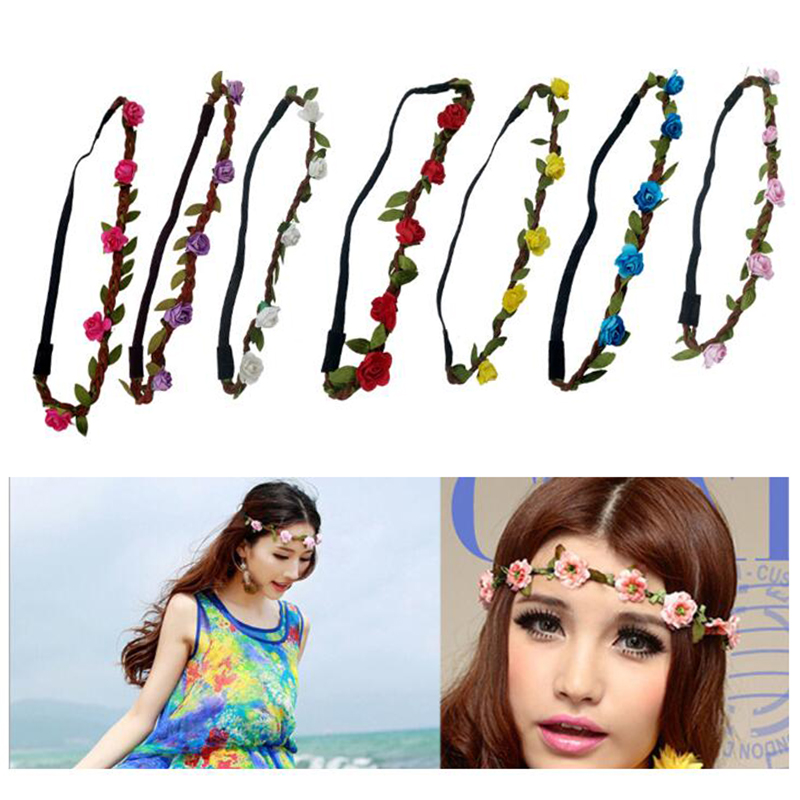 Traditional Roses Hair Band Floral Headband Women Rose Flower Hair Accessories Girls Flower Adjustable Hair Band Multiple Colors