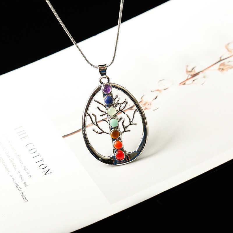 Chakra หินธรรมชาติจี้ Angel Wings Health Amulet แฟชั่น 7 Reiki โยคะเครื่องประดับสร้อยคอจี้ของขวัญ